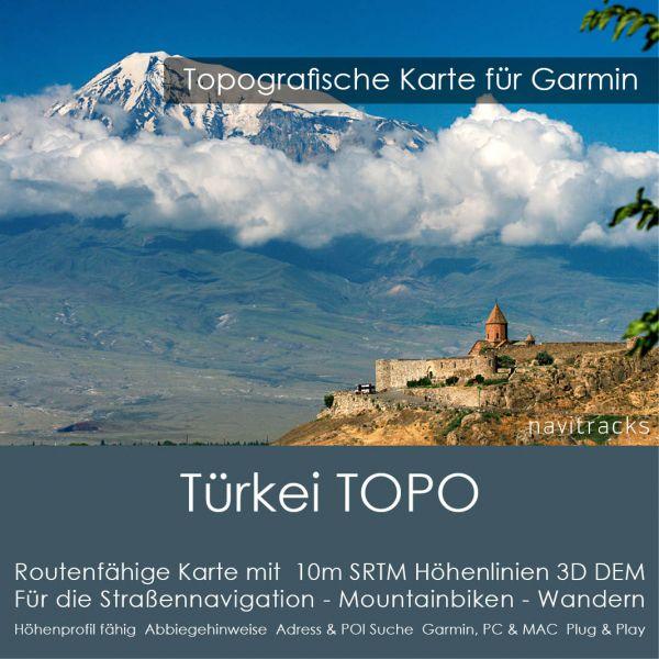 Türkei Topo GPS Karte Garmin. 10m SRTM Höhenlinien (4GB microSD Karte)