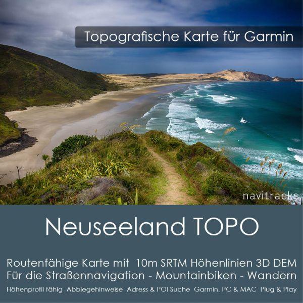 Neuseeland Topo GPS Karte für Garmin mit 10m SRTM Höhelinien (4GB micro SD Karte)