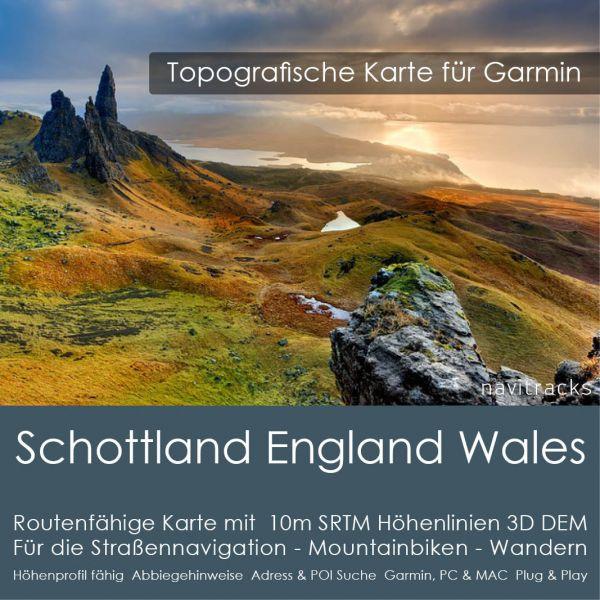 Schottland England  Wales Topo GPS Karte Garmin - 4GB microSD