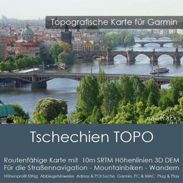 Topo Karte Tschechien (Europa) GPS Karte Garmin mit 10m SRTM Höhelinien (Download)