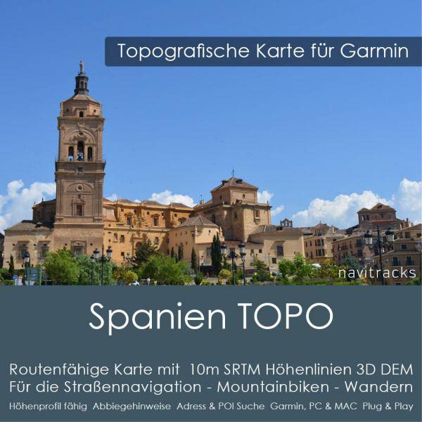 Spanien Topo GPS Karte Garmin mit 10 m SRTM Höhenlinien (Download)