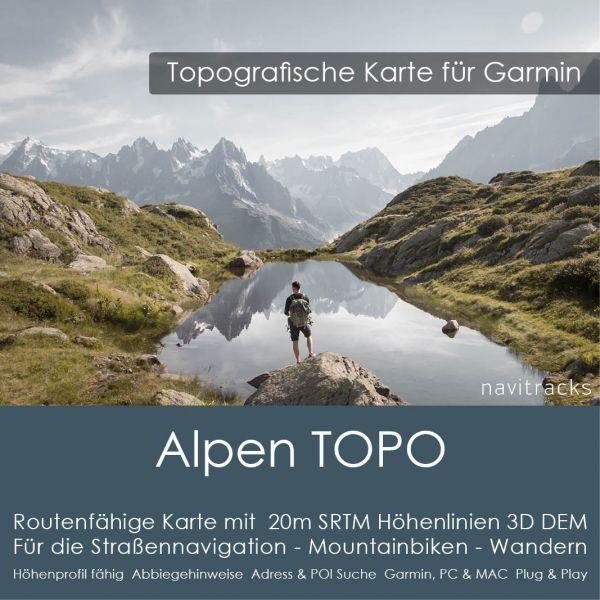Alpen Topo GPS Karte Garmin. (Deutschland Schweiz Italien Österreich Slowenien) 20m SRTM Höhenlinien (8GB microSD Karte)