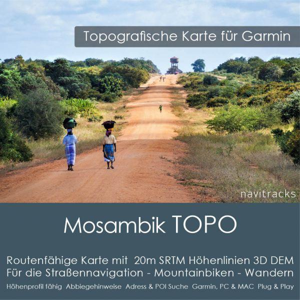 Topo Karte Mosambik (Afrika) GPS Karte Garmin mit 40m SRTM Höhelinien (Download)