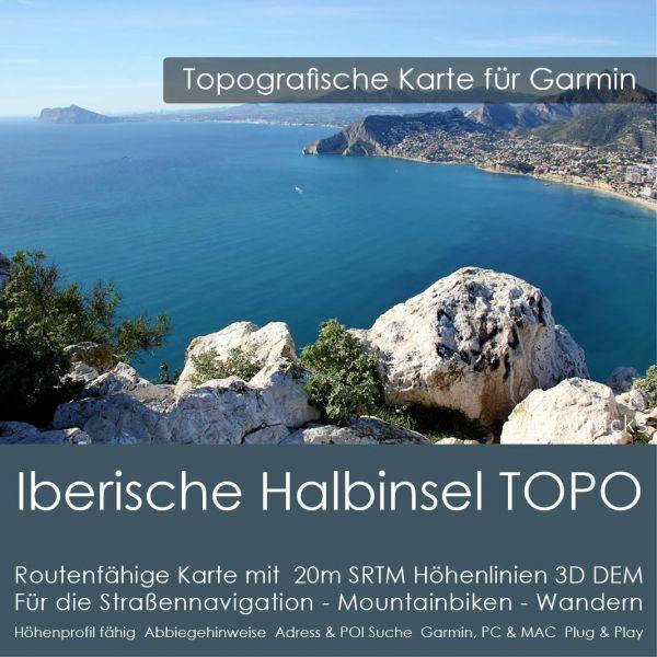 Iberische Halbinsel Topo GPS Karte Garmin - 8GB microSD mit Spanien und Portugal