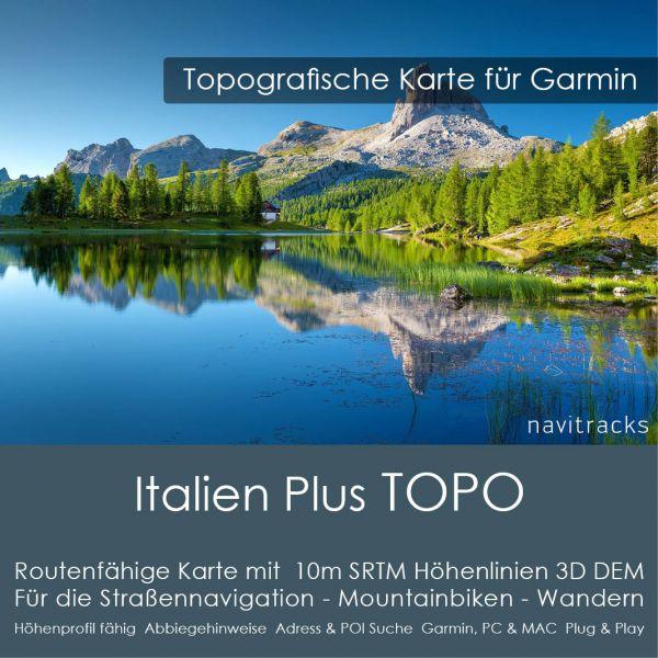Italien PLUS Topo GPS Karte Garmin mit 10m SRTM Höhenlinien (Download)