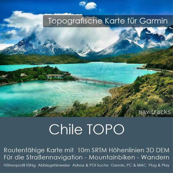 Chile Topo GPS Karte Garmin. 10m SRTM Höhenlinien (8GB microSD Karte)