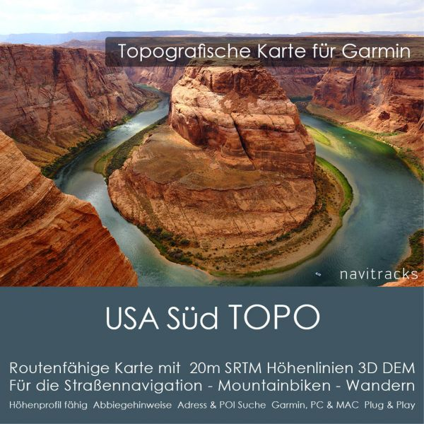 USA Süd Topo GPS Karte Garmin 20m SRTM Höhelinien (Download)
