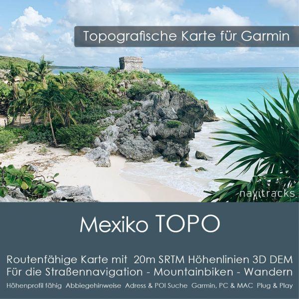 Topo Karte Mexiko (Nordamerika) GPS Karte Garmin mit 20m SRTM Höhelinien (Download)