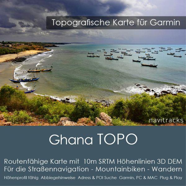 Topo Karte Ghana (Afrika) GPS Karte Garmin mit 20m DEM Höhelinien (Download)