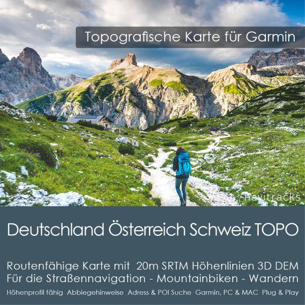 Deutschland Österreich Schweiz Topo GPS Karte für Garmin. 20m SRTM Höhenlinien (8GB micro SD Karte)