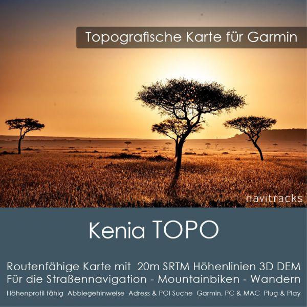 Topo Karte Kenia (Afrika) GPS Karte Garmin mit 40m SRTM Höhelinien (Download)