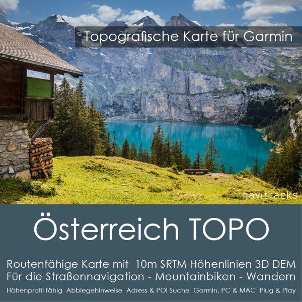 Österreich Topo GPS Karte für Garmin mit 10m SRTM Höhelinien (4GB micro SD)
