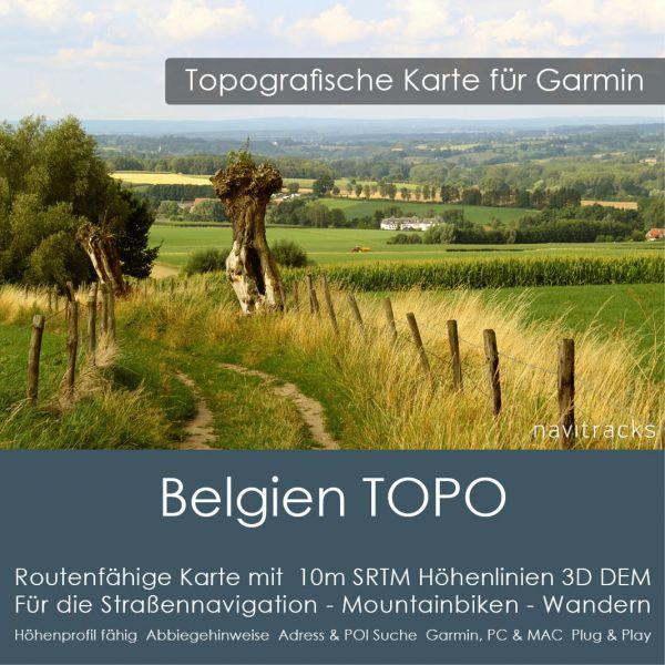 Belgien Topo GPS Karte Garmin 10m SRTM Höhenlinien (4GB microSD Karte)