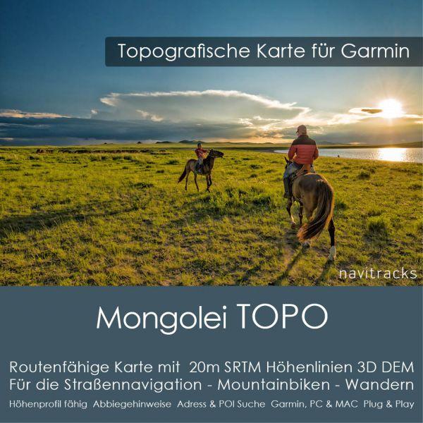 Topo Karte Mongolei (Asien) GPS Karte Garmin mit 20m SRTM Höhelinien (Download)