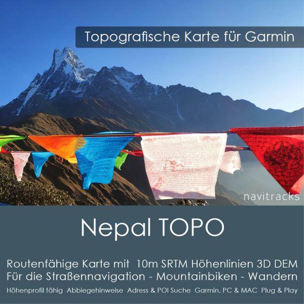 Nepal Topo GPS Karte Garmin. 10m SRTM Höhenlinien (4GB microSD Karte)