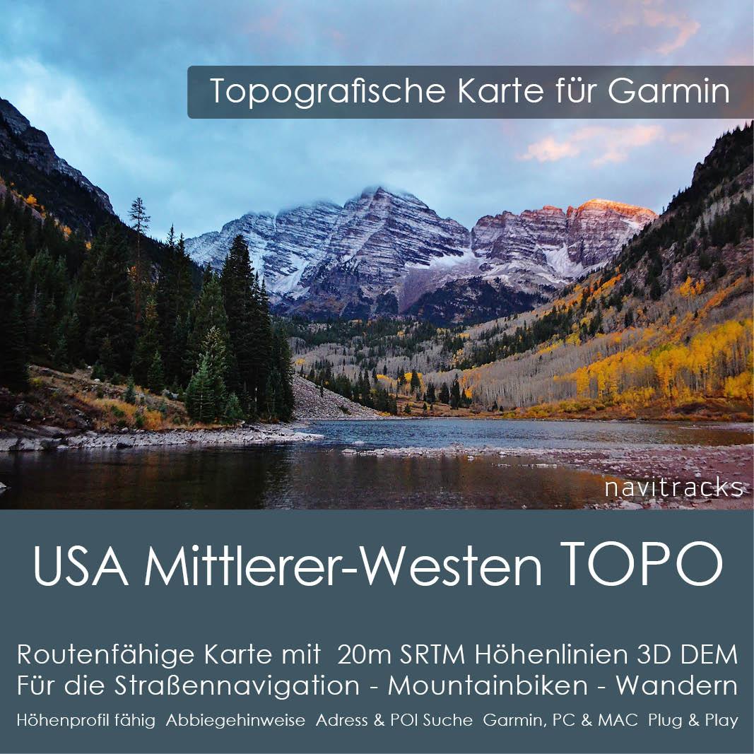 USA Mittlerer-Westen Topo GPS Karte Garmin (Download) | navitracks ...