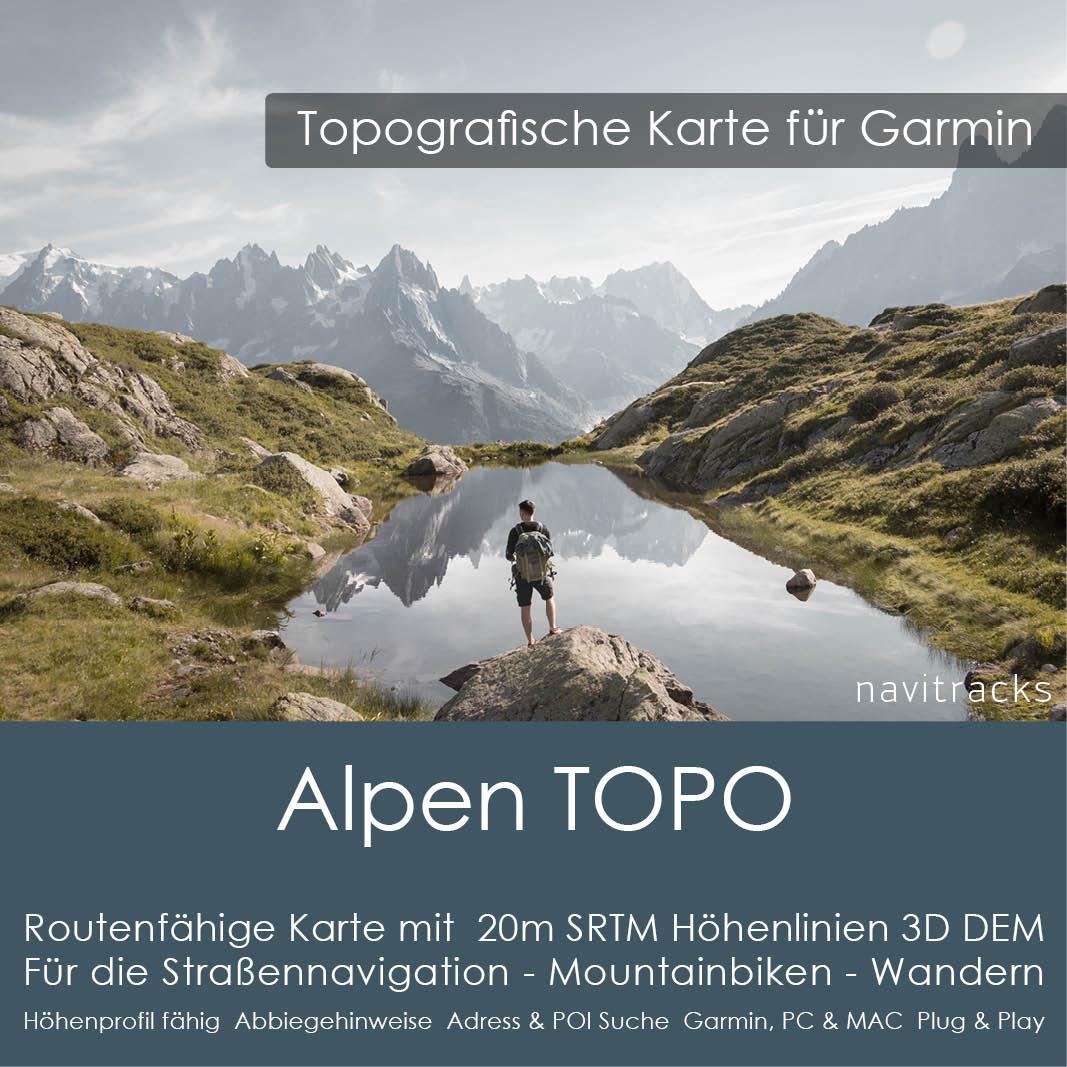 Alpen Topo GPS Karte Garmin Deutschland Schweiz Italien –sterreich Slowenien 20m SRTM Höhenlinien 8GB microSD Karte