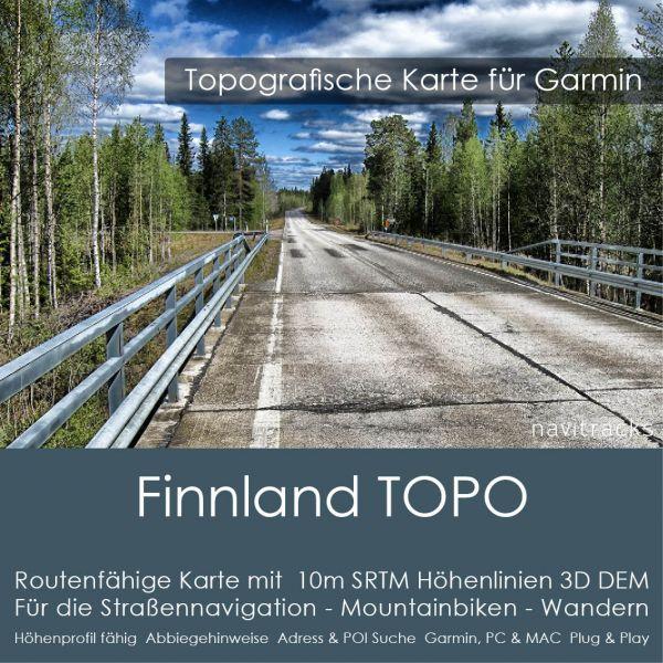 Finnland Topo GPS Karte Garmin. 10m SRTM Höhenlinien (4GB microSD Karte)
