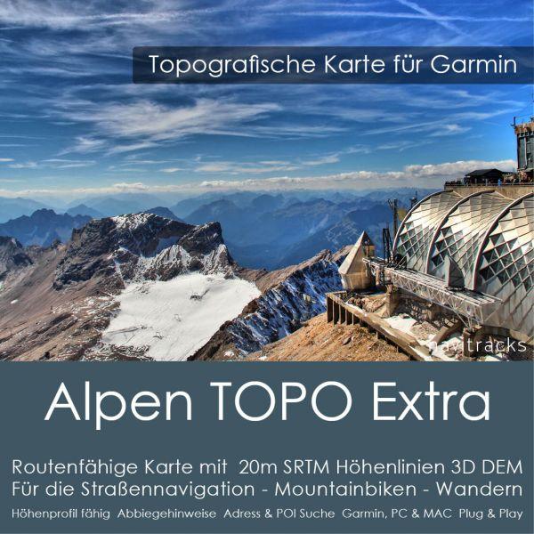 Alpen Topo GPS Karte Garmin Extra. (Deutschland Schweiz Italien Österreich Frankreich Slowenien) 20m SRTM Höhenlinien (8GB microSD Karte)