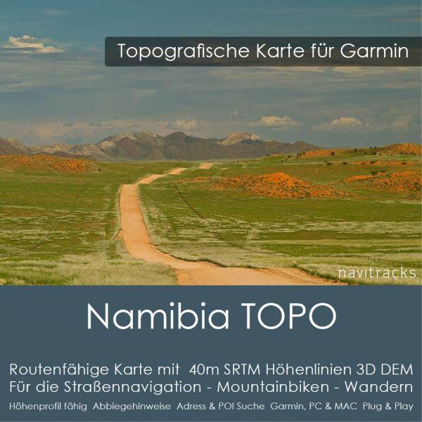 Topo Karte Namibia (Afrika) GPS Karte Garmin mit 40m SRTM Höhelinien (Download)