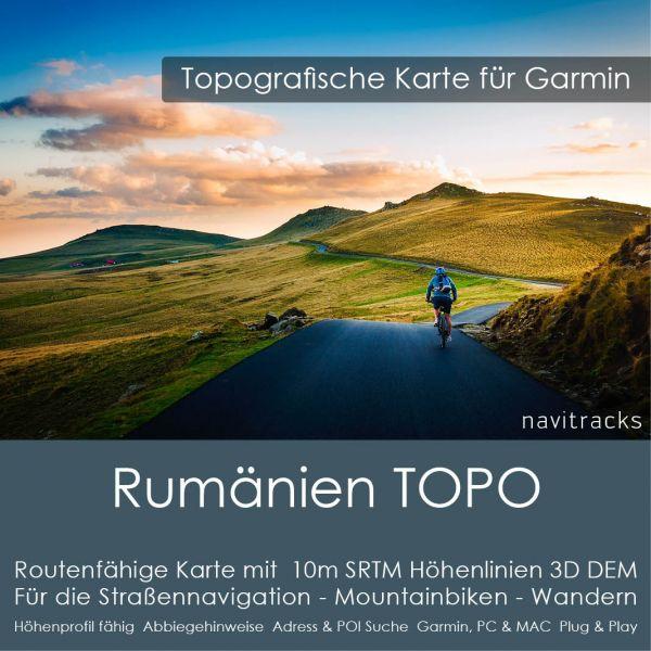 Topo Karte Rumänien (Europa) GPS Karte Garmin mit 10m SRTM Höhelinien (Download)