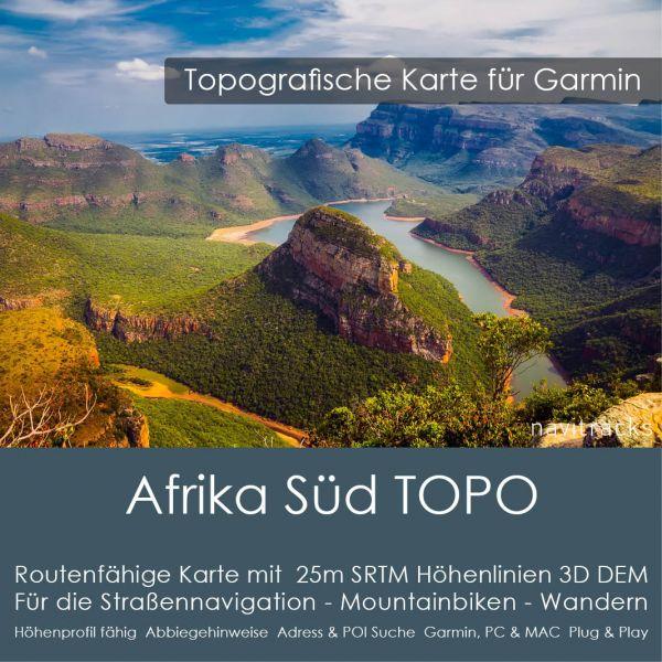 Südliches Afrika Topo GPS Karte Garmin 25m SRTM Höhelinien (Download)