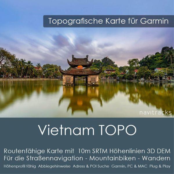 Vietnam Topo GPS Karte Garmin. 10m SRTM Höhenlinien (4GB microSD Karte)