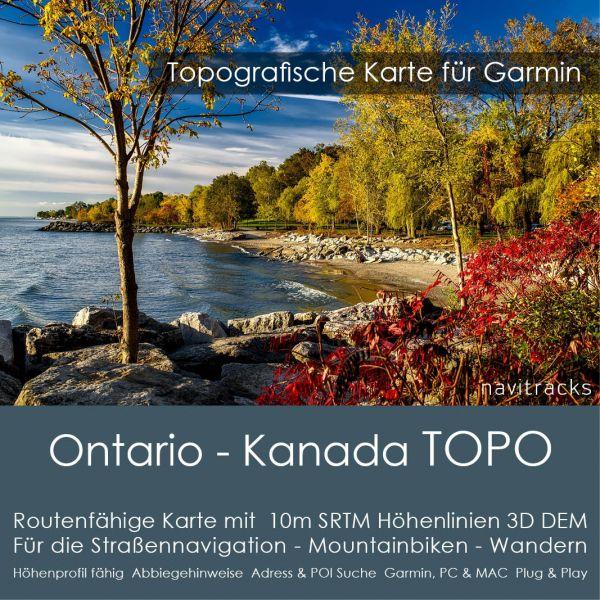 Ontario - Kanada Topo GPS Karte Garmin mit 10m SRTM Höhenlinien (Download)
