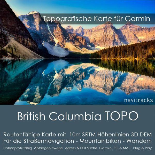 British Columbia - Kanada Topo GPS Karte Garmin mit 10m SRTM Höhenlinien (Download)