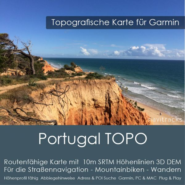 Portugal Topo GPS Karte Garmin mit 10m SRTM Höhenlinien (4GB microSD Karte)