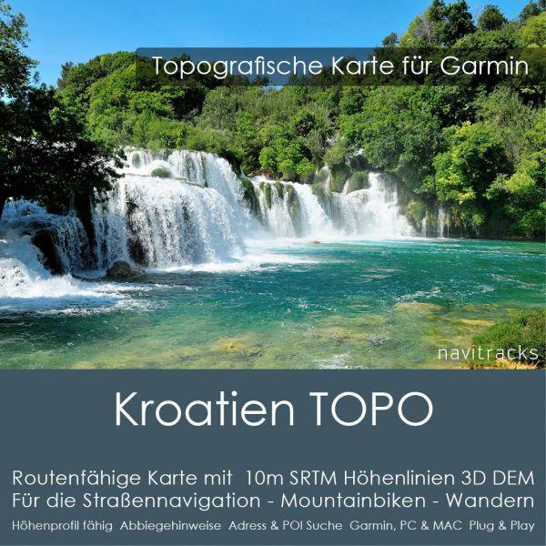 Kroatien Topo GPS Karte Garmin. 10m SRTM Höhenlinien (4GB microSD Karte)