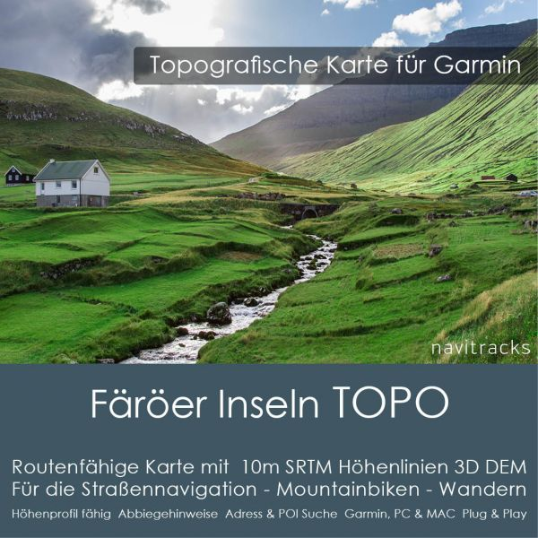 Färöer Inseln Topo GPS Karte Garmin (Download)