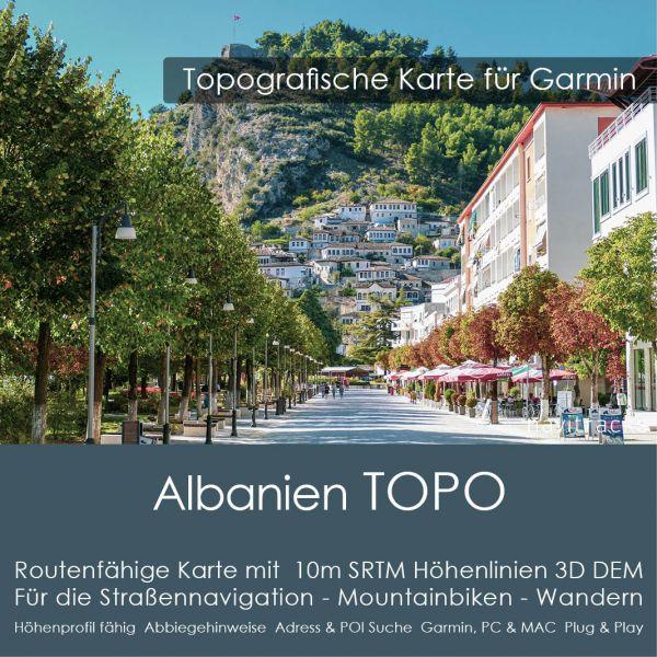 Albanien Topo GPS Karte Garmin 10m SRTM Höhelinien (Download)
