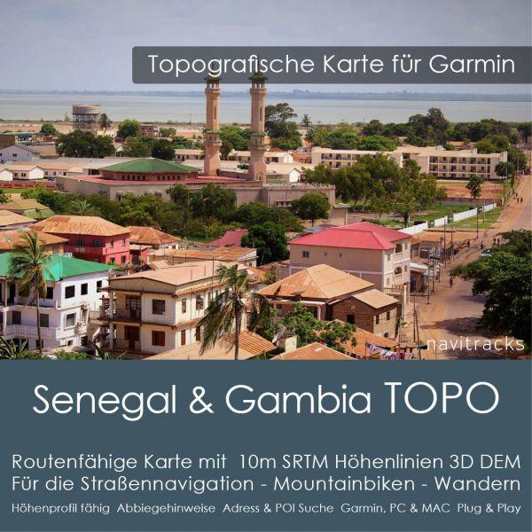 Topo Karte Senegal & Gambia (Afrika) GPS Karte Garmin mit 10m SRTM Höhelinien (Download)