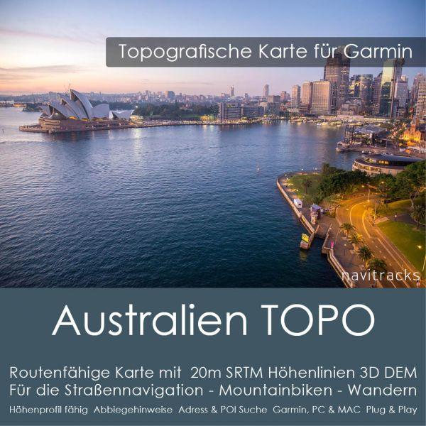 Australien Topo GPS Karte für Garmin mit 20m SRTM Höhenlinien (4GB microSD)
