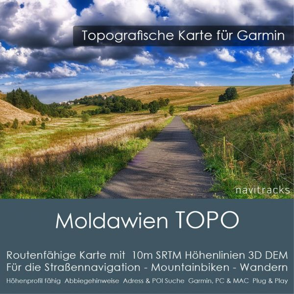 Topo Karte Moldawien (Europa) GPS Karte Garmin mit 10m SRTM Höhelinien (Download)