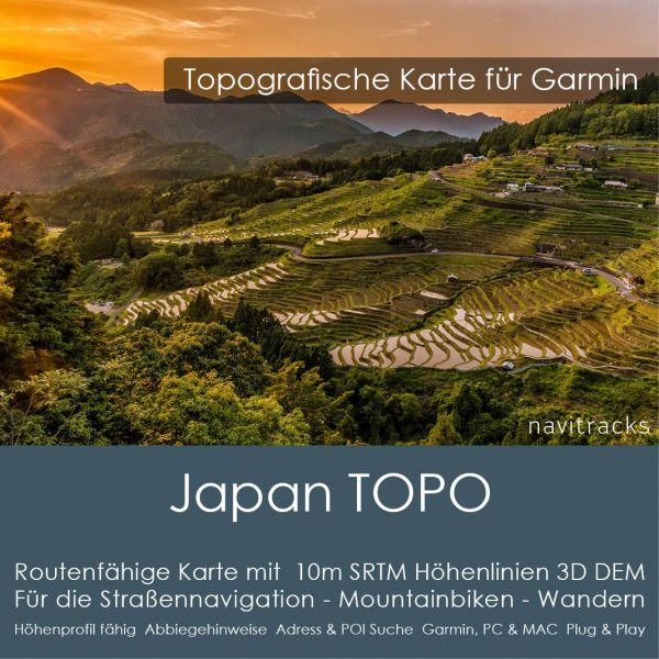 Japan Topo GPS Karte Garmin mit 10m SRTM Höhenlinien 3D DEM  (Download)