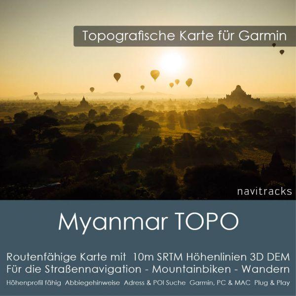 Topo Karte Myanmar (Asien) GPS Karte Garmin mit 10m SRTM DEM Höhelinien (Download)