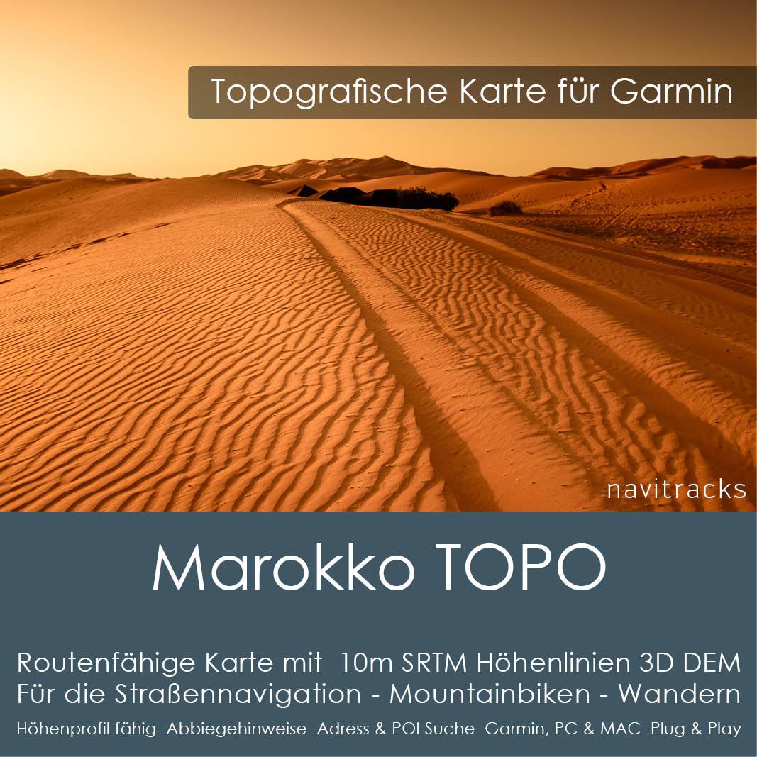 Marokko Topo GPS Karte Garmin mit 10m SRTM Höhelinien Download