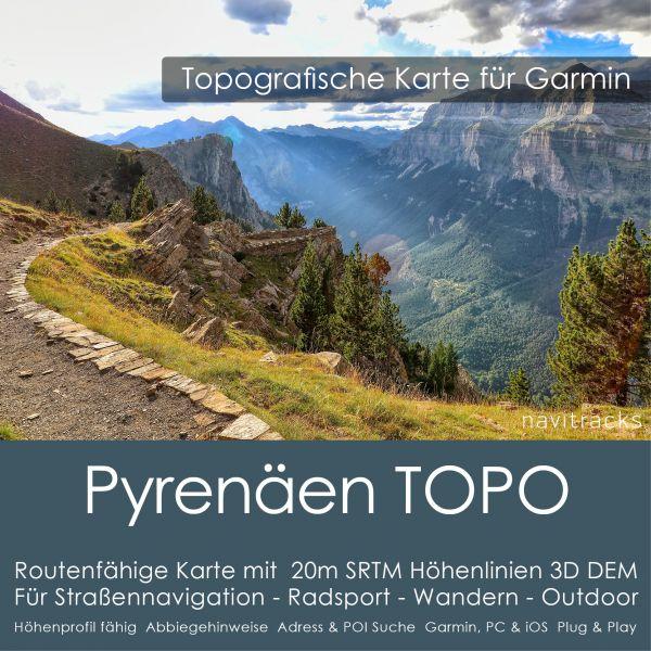 Topo Karte Pyrenäen (Europa) GPS Karte Garmin mit 20m SRTM Höhelinien (Download)