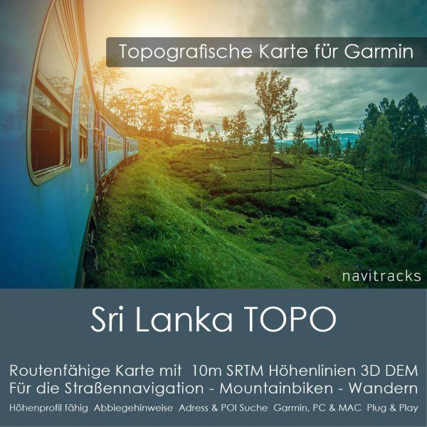 Sri Lanka Topo GPS Karte Garmin mit 10m SRTM Höhelinien (Download)