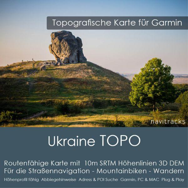 Topo Karte Ukraine (Europa) GPS Karte Garmin mit 10m SRTM Höhelinien (Download)
