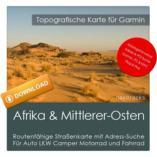 Afrika & Mittlerer Osten GPS Strassenkarte für Garmin (Download)