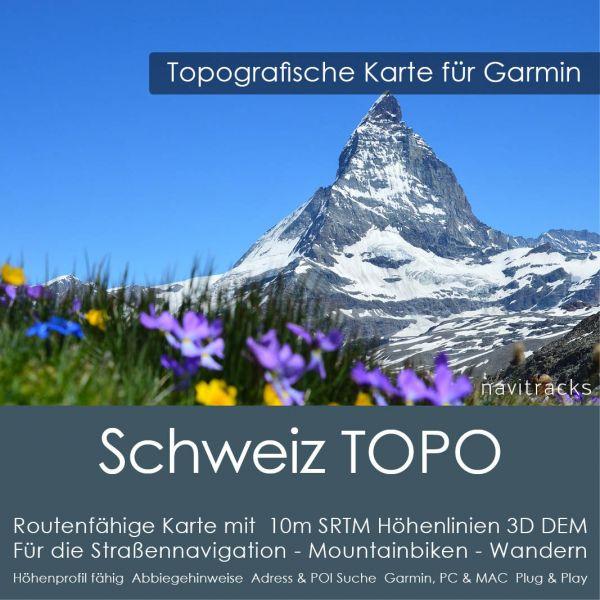 Schweiz Topo GPS Karte für Garmin mit 10m SRTM Höhelinien (Download)