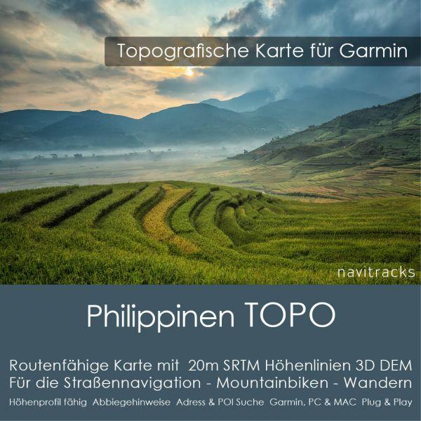 Topo Karte Philippinen (Asien) GPS Karte Garmin mit 20m SRTM DEM Höhelinien (Download)