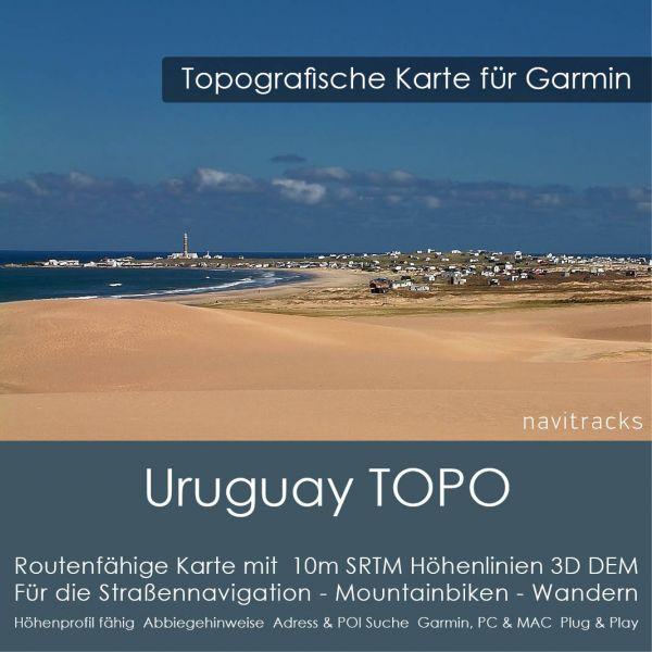 Uruguay Topo GPS Karte Garmin 10m SRTM Höhenlinien (4GB microSD Karte)