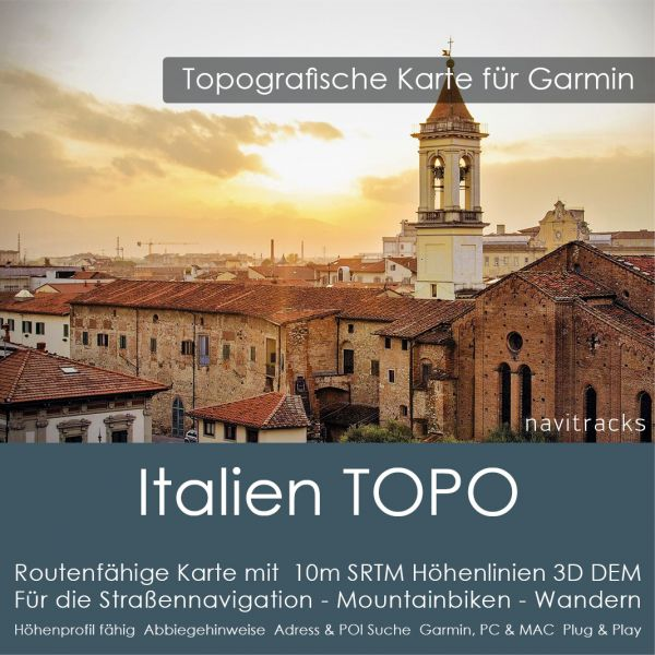 Italien Topo GPS Karte Garmin 10m SRTM DEM Höhenlinien (4GB microSD Karte)