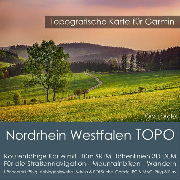 Nordrhein Westfalen Topo GPS Karte Garmin mit 10m SRTM Höhenlinien (Download)
