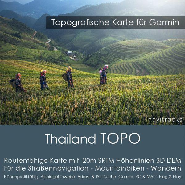 Topo Karte Thailand (Asien) GPS Karte Garmin mit 20m SRTM Höhelinien (Download)