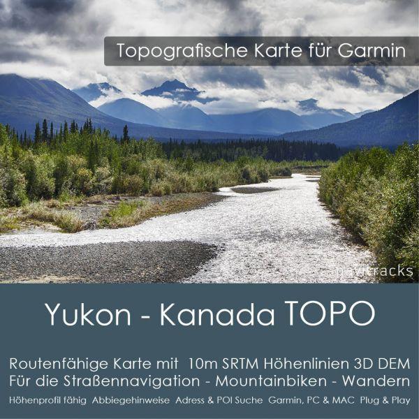 Yukon - Kanada Topo GPS Karte Garmin mit 10m SRTM Höhenlinien (Download)